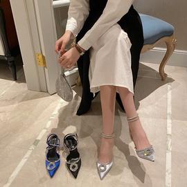 Black Bow High Heel Rhinestone Sandals NSCA38236
