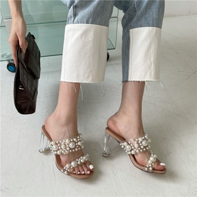 Pearl Transparent Heel Sandals NSCA38246