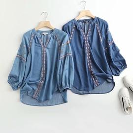 Retro Embroidery Loose Denim Shirt  NSAM33999