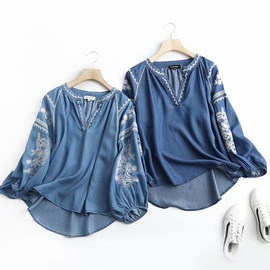 Fashion Loose Embroidered Pullover Denim Shirt  NSAM34005