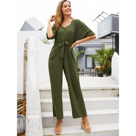 New Solid Color Bow Tie V-neck High Waist Loose Straight Leg Jumpsuit  NSSA34579