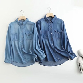 Lapel Wild Pocket Loose Denim Shirt   NSAM34006