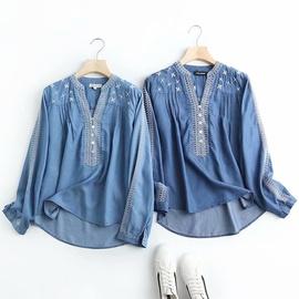 Fashion Loose Embroidered Denim Shirt  NSAM34011