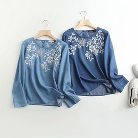Embroidery Round Neck Pullover Loose Denim Shirt  NSAM34016