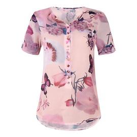 Short-sleeved Printed Button Chiffon Shirt NSZH33908