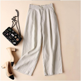 Cotton And Linen Wide Leg Pants  NSYF33934
