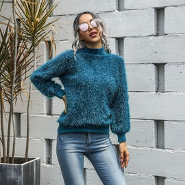 New High Neck Bright Silk Knit Sweater  NSMY34763
