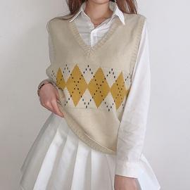 New Rhombus Contrast Woolen Vest  NSLQ34767