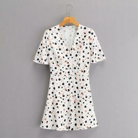 New V-neck Short Sleeve Polka Dot Printed Dress  NSAM34785