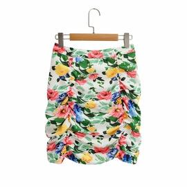 Flowers Printed Pleated Skirt  NSAM34786