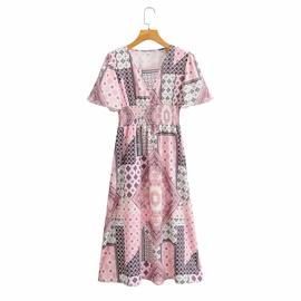 New Mid-length V-neck Waist Printing Short-sleeved Dress  NSAM34789