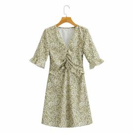 Ruffle Stitching V-neck Pleated Waist Printed Dress  NSAM34804