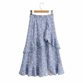 Ruffle Stitching Irregular Hem Printed Skirt  NSAM34808