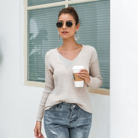 Casual Fall/winter V-neck Pit Sweater NSMY34833