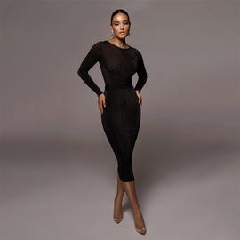 Round Neck Milk Silk Slim Long Sleeve Dress NSAG34838