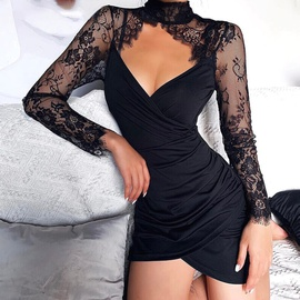 New Sexy Hollow Lace Long Sleeve Dress NSAG34847
