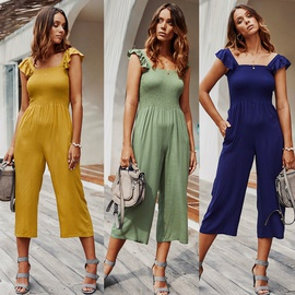 Summer Suspenders Solid Color Thin Casual Jumpsuit NSDY34861