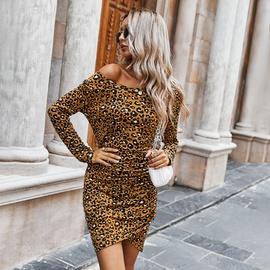Fall Leopard Print Slim Dress  NSDY34864