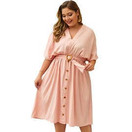 Spring And Summer V-neck New Solid Color Sleeve Dress NSDY34865