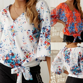 New Digital Printing Large Size Strappy Chiffon Top  NSDY34889