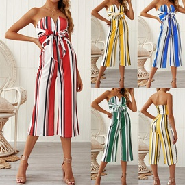 Tie Bow Contrast Striped Long Jumpsuit  NSDY34897