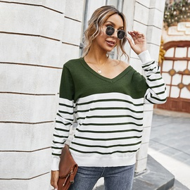 Autumn And Winter Classic V-neck Striped Color-blocking Sweater  NSDY34901