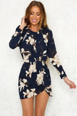 Autumn New Style Round Neck Long Sleeve Lace-up Printing Irregular Dress NSYD34908