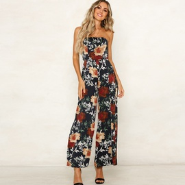 Sexy Wrapped Chest Printed Jumpsuit NSYD34910