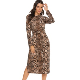 New Snake Print Long-sleeved Lace-up Skirt  NSYD34926