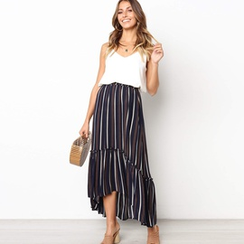 Color Stripe Printed Pleated Dovetail Skirt NSYD34928