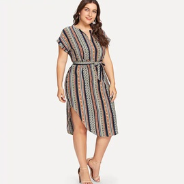 Plus Size Short-sleeved Striped V-neck Dress NSYD34930