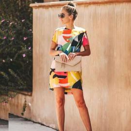New Round Neck Short Sleeve Printed Dress NSYD34931