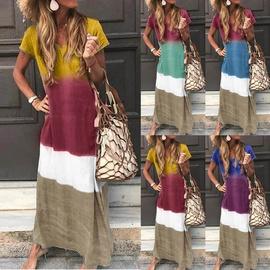 Long Tie-dye V-neck Simple Loose Dress NSYD34935