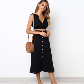 New Sexy V-neck Tube Top Button Dress Suit NSYD34938
