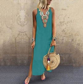 New Style Casual Loose Cotton And Linen Sexy Sleeveless Deep V-neck Side Slit Dress NSYD34941