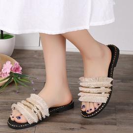 Fashion Wild Metal Fringed Slippers   NSPE34964