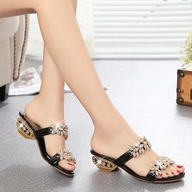 Fashion Rhinestone Thick Heel Slippers  NSPE34965