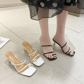 Fashion Leather Fabric Breathable High-heeled Sandals  NSPE34967