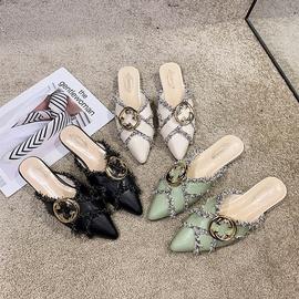 Leather Sexy Rhinestone Thick-heel Flat Slippers  NSPE34969