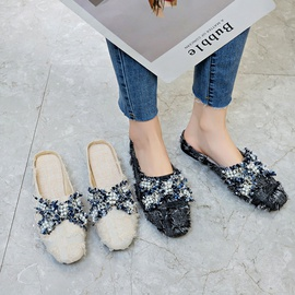 Solid Color Round Head Side Hollow Flat Slippers NSPE34974