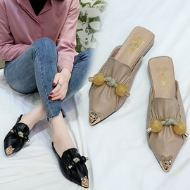 Pointed Toe Flat Thick Heel Beaded Metal Cat Face Shoes  NSPE34975