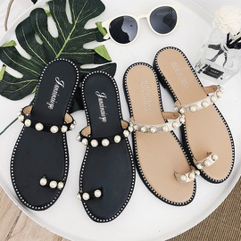 Small Pearls Solid Color Flat-heeled Slippers NSPE34978
