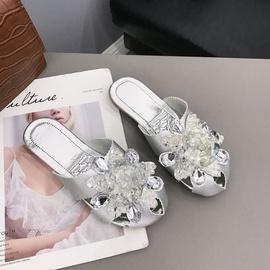 Hollow Seam Flower Rhinestone Fashion Half Slippers NSPE34979