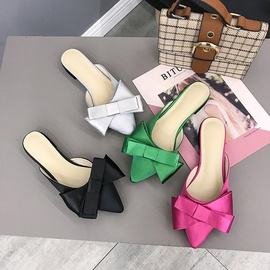 Wear-resistant Pointed Head Bow Thick Heel Slippers NSPE34980