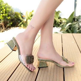 Belt Buckle Crystal Thick Heel Transparent High Heel Slippers NSPE34988