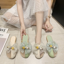 Breathable Lace Flower Flat Bottom Slippers NSPE34990