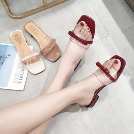 Square Head Breathable Low Top Sexy Slippers  NSPE34993