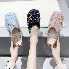 Strap Thick Heel Flat Small Sequins Retro Singles Shoes  NSPE34994