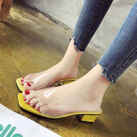 Square Toe Open-toe Thick Heel Transparent Slippers NSPE34997