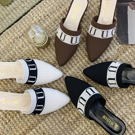 Flat Heel Solid Color Pointed Toe Slippers NSPE35020